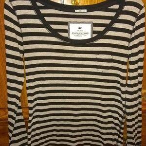 Grey & black stripe LS top